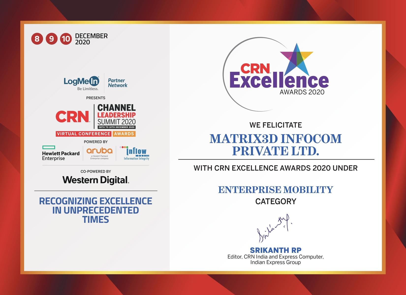 CRN Award Enterprise Mobility 2020